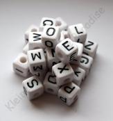 Kunstoff Buchstabenwürfel Weiß/Schwarzer 10mm