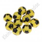 10 Fussballperlen 12mm Gelb/Schwarz