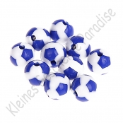 10 Fussballperlen 12mm Blau/Weiß
