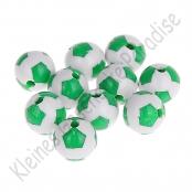 10 Fussballperlen 12mm Grün/Weiß