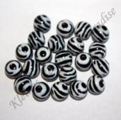 10 Kunststoffperlen 12mm mit Zebra Streifen Perlen