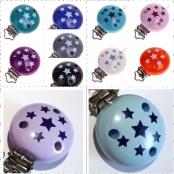 10 Schnullerclip Sternchen Farbe nach Wahl
