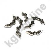 10 Silberfarbene Metall Engelsflügel