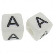 10 x A / Weiße Buchstabenwürfel 10x10mm
