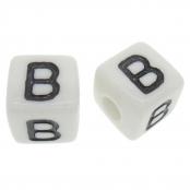 10 x B / Weiße Buchstabenwürfel 10x10mm