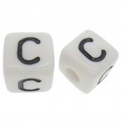 10 x C / Weiße Buchstabenwürfel 10x10mm