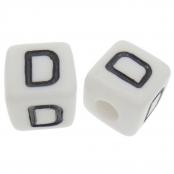 10 x D / Weiße Buchstabenwürfel 10x10mm