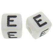 10 x E / Weiße Buchstabenwürfel 10x10mm