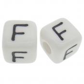 10 x F / Weiße Buchstabenwürfel 10x10mm