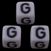10 x G / Weiße Buchstabenwürfel 10x10mm
