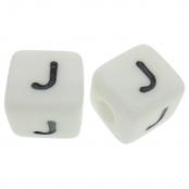 10 x J / Weiße Buchstabenwürfel 10x10mm