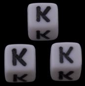 10 x K / Weiße Buchstabenwürfel 10x10mm