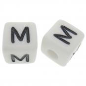 10 x M / Weiße Buchstabenwürfel 10x10mm