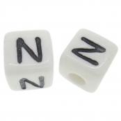 10 x N / Weiße Buchstabenwürfel 10x10mm