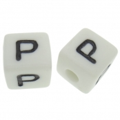 10 x P / Weiße Buchstabenwürfel 10x10mm