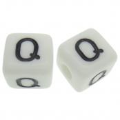 10 x Q / Weiße Buchstabenwürfel 10x10mm