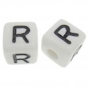 10 x R / Weiße Buchstabenwürfel 10x10mm