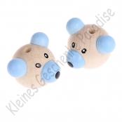 10x  Bärenkopf 3D Teddy Natur/Blau Vertikal