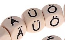 1 Geprägte Buchstabenwürfel nach Wahl Ä,Ö,Ü
