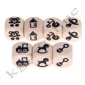 1 Geprägte Buchstabenwürfel mit Motiv