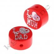 1 Glitzerscheibe I ♥ MUM / I ♥ DAD Rot / Silber