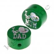 1 Glitzerscheibe I ♥ MUM / I ♥ DAD Grün / Silber