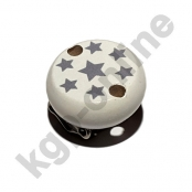 1 Motivclip Mini Schnullerclip Sternchen Weiß mit Grau