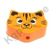 Abverkauf 1 Motivperle Maxi Katze Aprikot-Mandarin