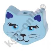 1 Motivperle Maxi Katze Babyblau