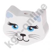 1 Motivperle Maxi Katze Weiß mit Ohren in Babyblau