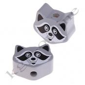 1 Motivperle Mini Waschbär in Grau
