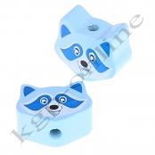 1 Motivperle Mini Waschbär in Babyblau