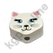 1 Motivperle Mini Katze Weiß mit Ohren in Rosa
