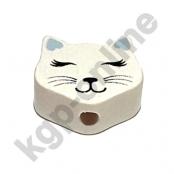 1 Motivperle Mini Katze geschlossene Augen in Weiß/Babyblau