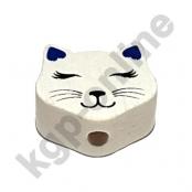 1 Motivperle Mini Katze geschlossene Augen in Weiß/Dunkeblau