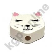 1 Motivperle Mini Katze geschlossene Augen in Weiß/Rosa
