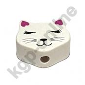 1 Motivperle Mini Katze geschlossene Augen in Weiß/Dunkelpink