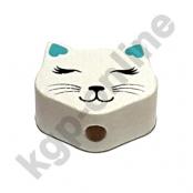 1 Motivperle Mini Katze geschlossene Augen in Weiß/Helltürkis