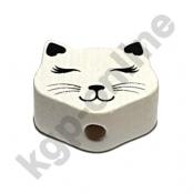 1 Motivperle Mini Katze geschlossene Augen in Weiß/Schwarz
