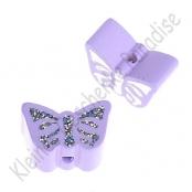 1 Motivperle Schmetterling Flieder mit Glitzer Prägung
