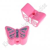 1 Motivperle Schmetterling Hellpink mit Glitzer Prägung