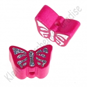 1 Motivperle Schmetterling Dunkelpink mit Glitzer Prägung