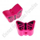1 Motivperle Schmetterling Dunkelpink mit Druck