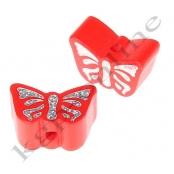 1 Motivperle Schmetterling Rot mit Glitzer Prägung