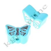 1 Motivperle Schmetterling Helltürkis mit Glitzer Prägung
