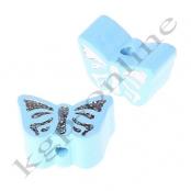 1 Motivperle Schmetterling Babyblau mit Glitzer Prägung