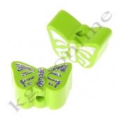 1 Motivperle Schmetterling Apfelgrün mit Glitzer Prägung