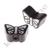 1 Motivperle Schmetterling Schwarz mit Glitzer Prägung