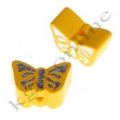 1 Motivperle Schmetterling Gelb mit Glitzer Prägung