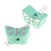 1 Motivperle Schmetterling Mint mit Glitzer Prägung